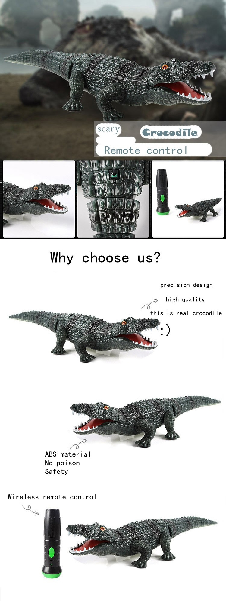 Infrared Remote Control Crocodile Electric Simulation RC Toy For Kids Children