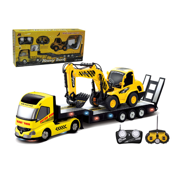 QINGYI MINI RC Toy 1:32 6CH RC Trailer With 1:20 6CH RC Digger