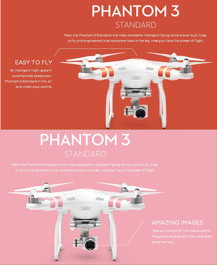 DJI Phantom 3 Standard FPV With 2.7K HD Gimbal Camera RC Quadcopter RTF