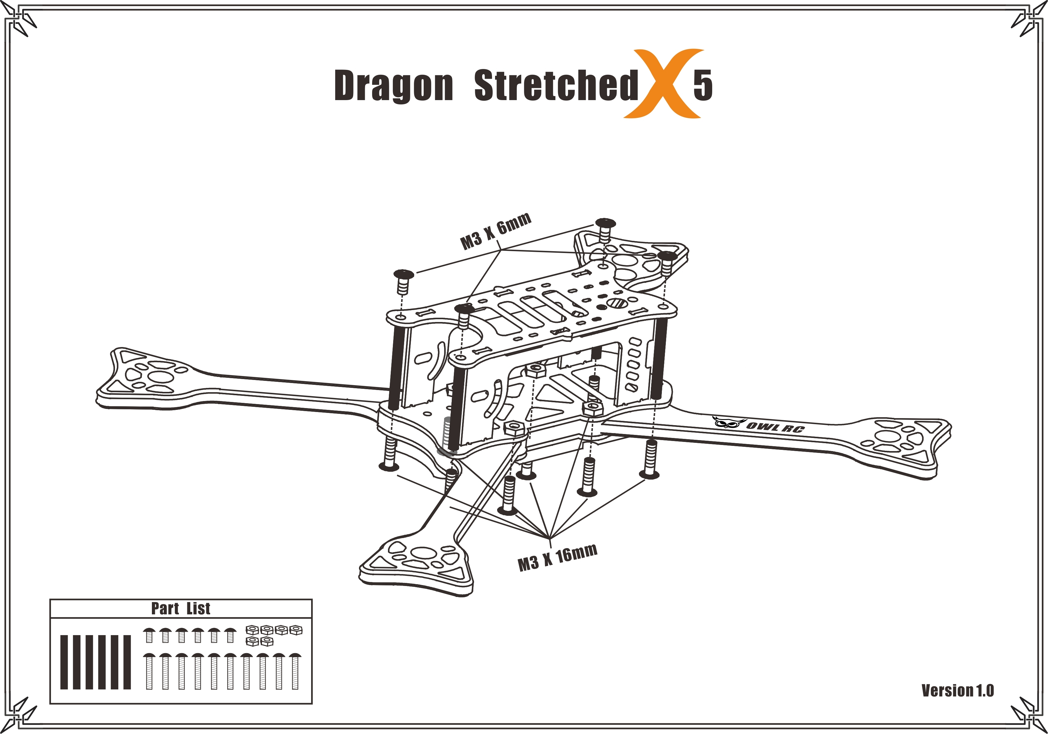 OWLRC Dragon Stretched X5 DSX-5 228mm 5mm Arm FPV Racing Frame Kit 3k Full Carbon Fiber