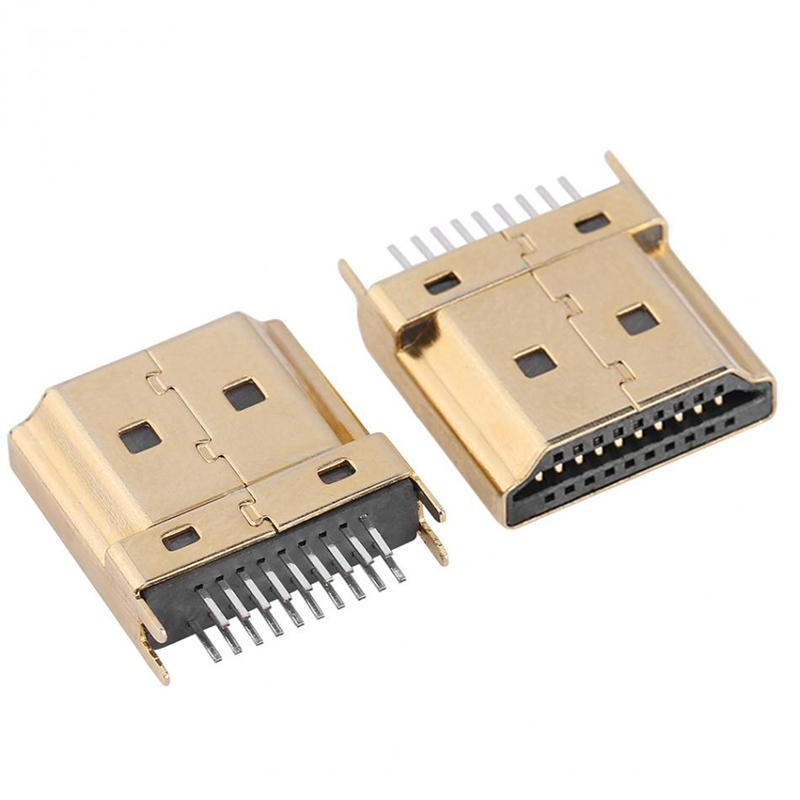 2 PCS HD Port-A Male Plug SMT 19P 2-Row Pin 4 Feet 1 .6 mm Pitch For PCB