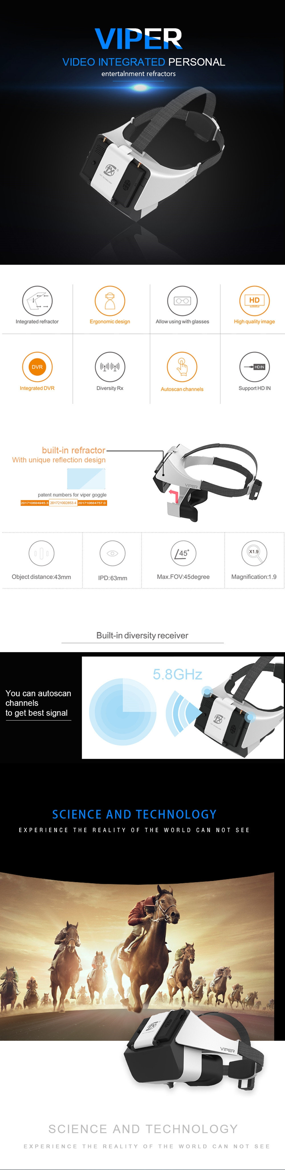 FXT VIPER 5.8GHz Diversity HD FPV Goggles with DVR Built-in Refractor for RC Drone