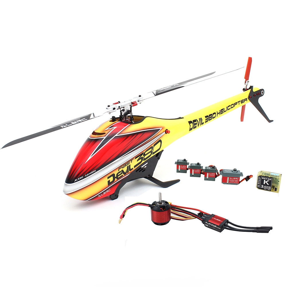 ALZRC Devil 380 FAST RC Helicopter Premium Yellow Version Super Combo