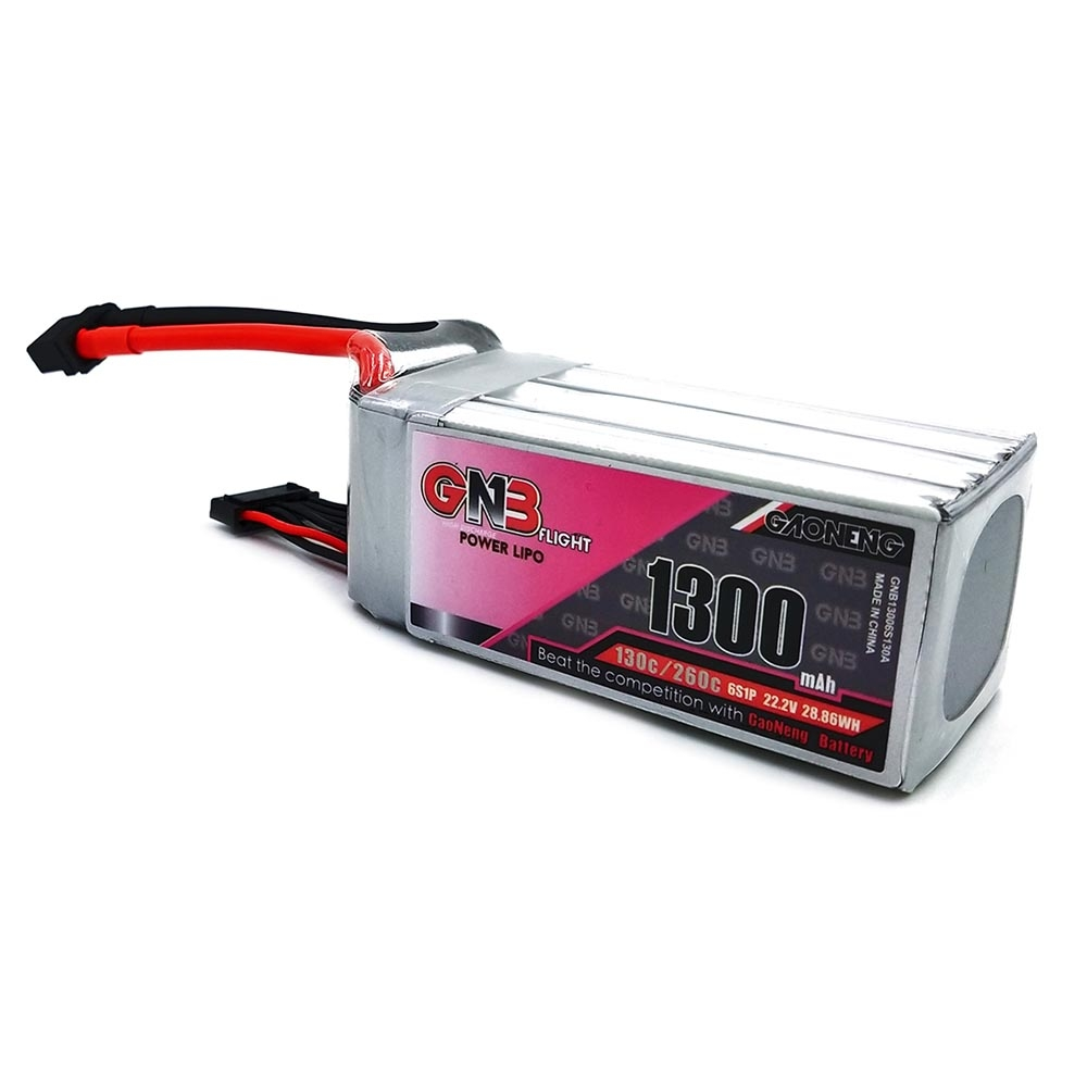 Gaoneng GNB 22.2V 1300mAh 130C/260C 6S Lipo Battery With XT60 Plug For RC FPV Racing Drone