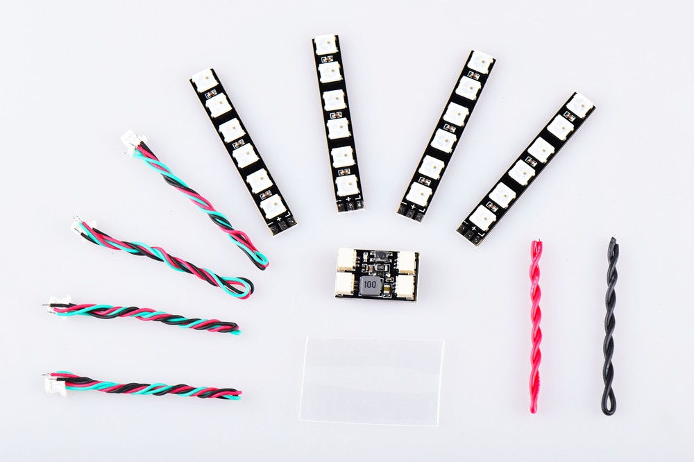 4 PCS WS2812 LED Strip Light 2-6S 7 Color Switchable with LED Controller Board for RC Drone