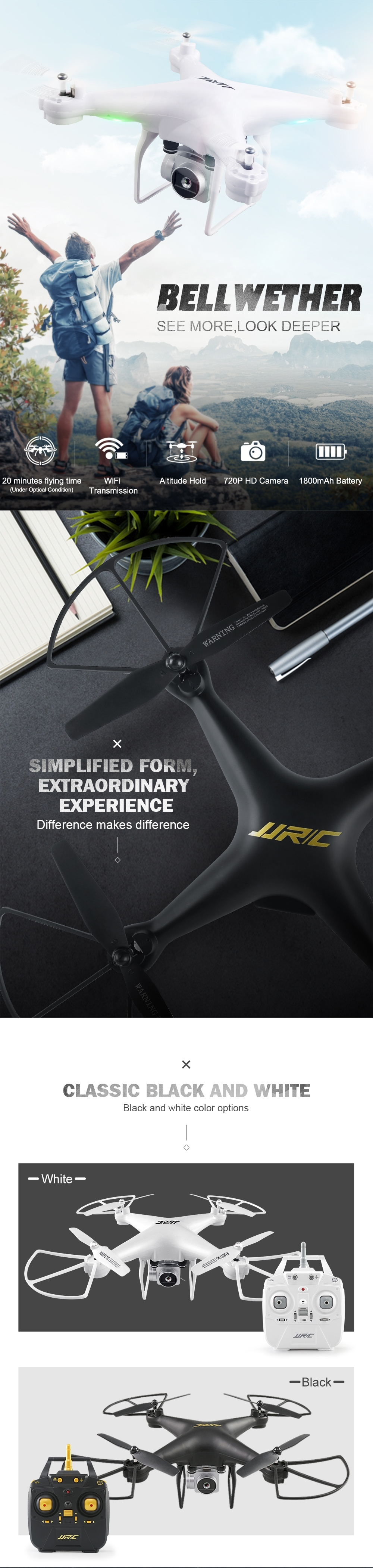 JJRC H68 Bellwether WiFi FPV with 2MP 720P HD Camera 20mins Flight Time RC Drone Quadcopter RTF