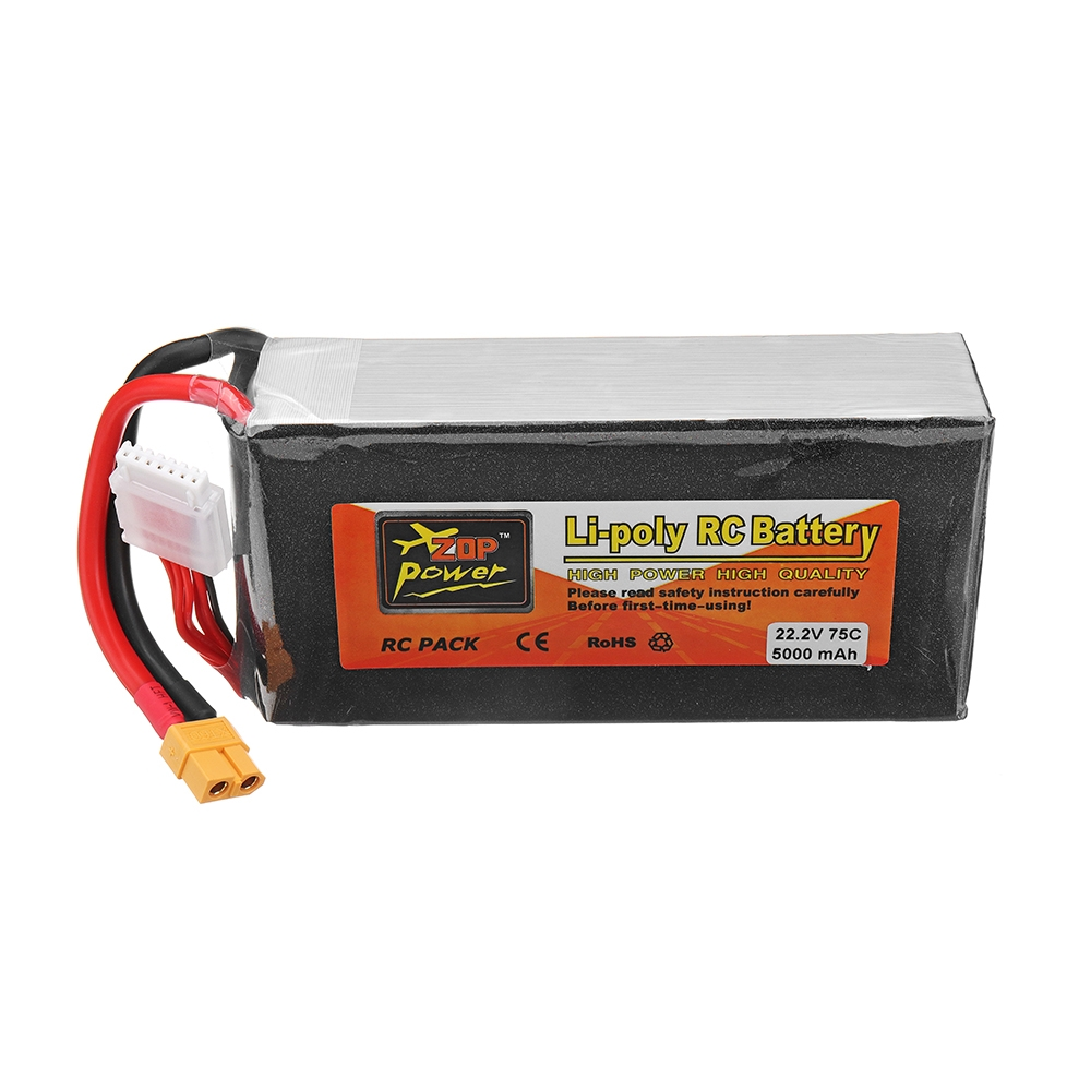 ZOP Power 22.2V 5000mah 75C 6S Lipo Battery XT60 Plug for RC Drone