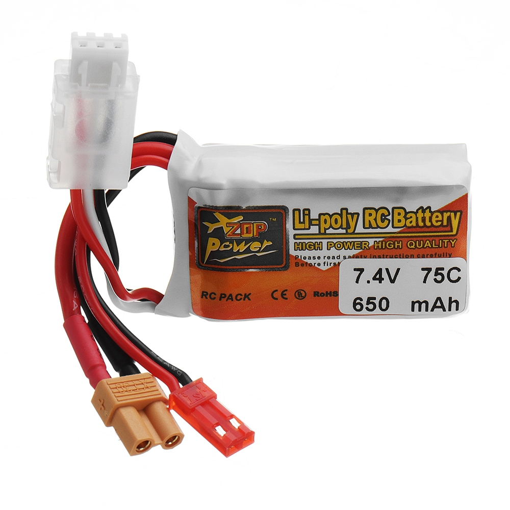 ZOP POWER 7.4V 650mAH 75C 2S Lipo Battery With JST/XT30 Plug For RC FPV Models