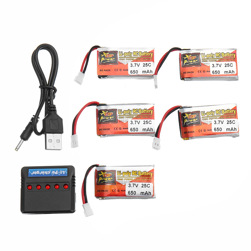 5PCS ZOP POWER 3.7V 650mAh 25C 1S Lipo Battery JST Plug With Charger