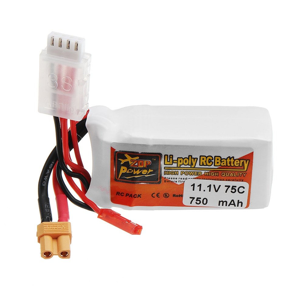 ZOP POWER 11.1V 750mAh 75C 3S Lipo Battery With JST Plug XT30 Plug For RC Models