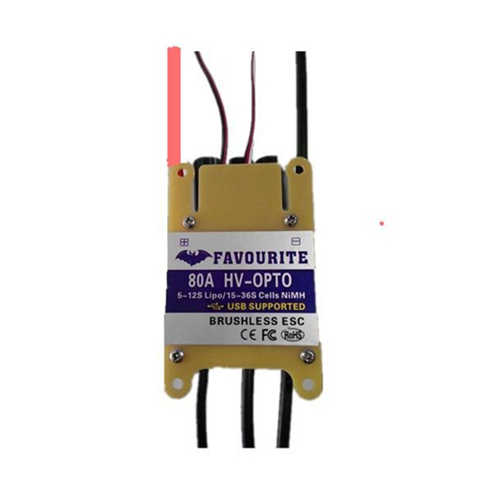 Favourite FVT HV-OPTO 80A 5-12S Brushless ESC USB Supported for RC Airplane Aircraft Fixed Wing