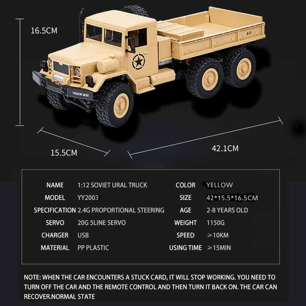 MZ YY2003 2.4G 4WD 1/12 Military Truck Off Road RC Car Crawler Toys