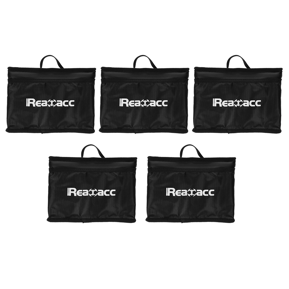 5Pcs Realacc Fireproof Explosionproof LiPo Battery Portable Safety Bag 240x180x65mm with Handle