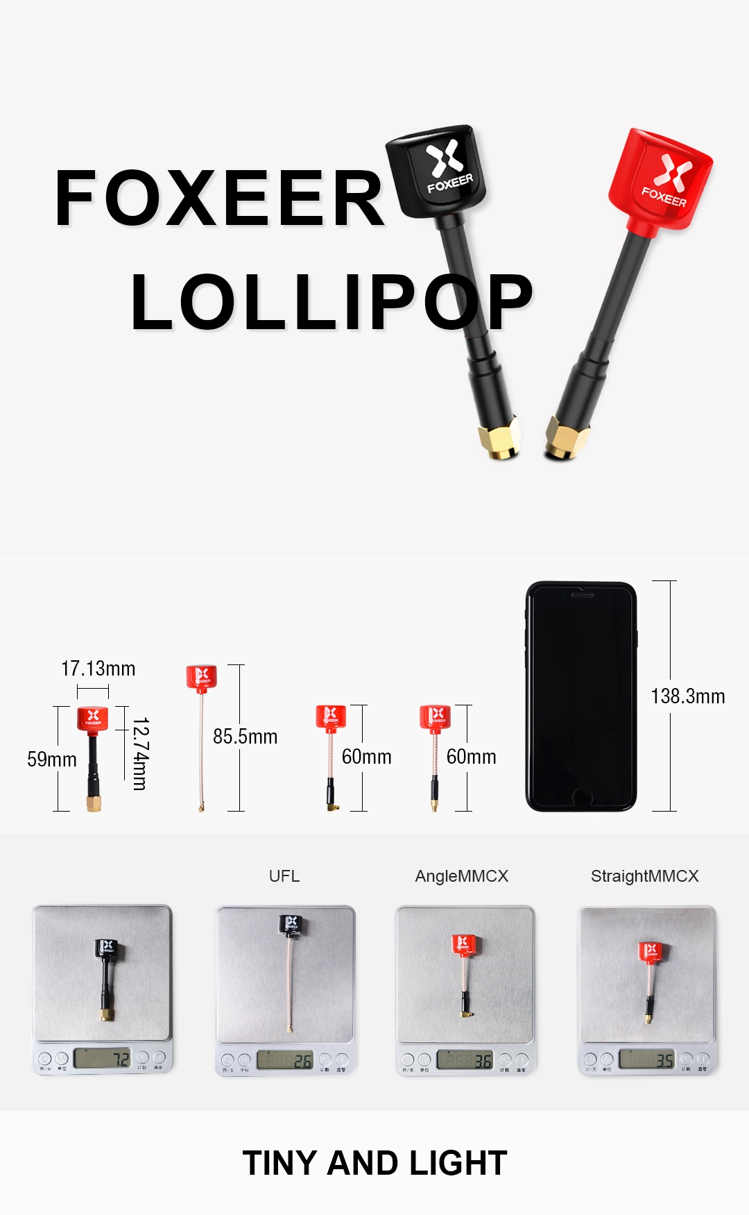 2pcs Foxeer Lollipop 85.5mm 5.8G 2.3dBi LHCP UFL Super Mini FPV Antenna Red/Black For RC Drone
