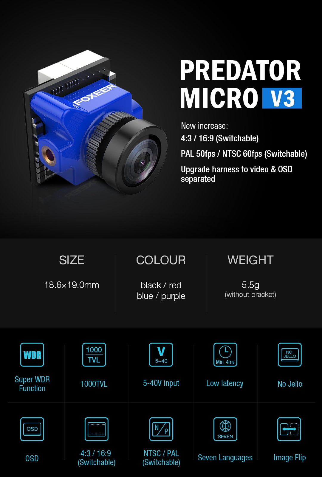 Foxeer Predator Micro V3 16:9/4:3 PAL/NTSC Switchable Super WDR 4ms Latency OSD FPV Camera