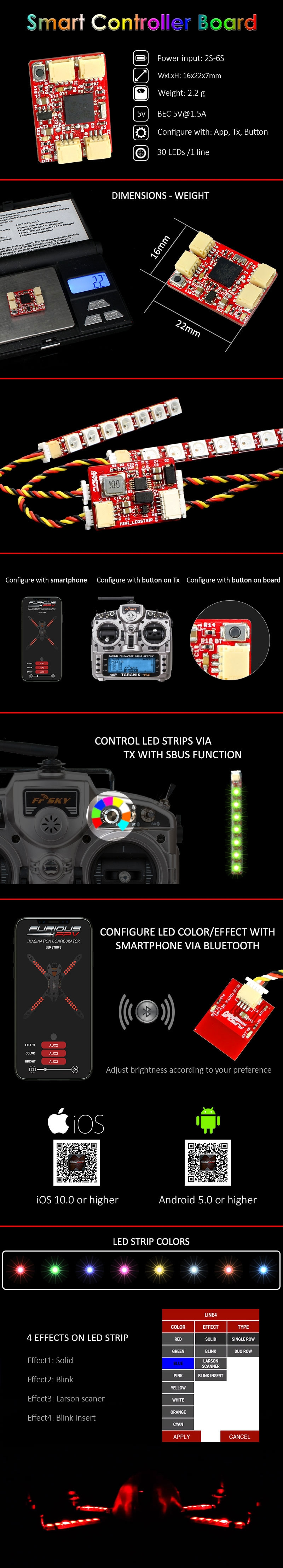 FuriousFPV LED Strip Smart Controller Board With Bluetooth Module For RC Drone