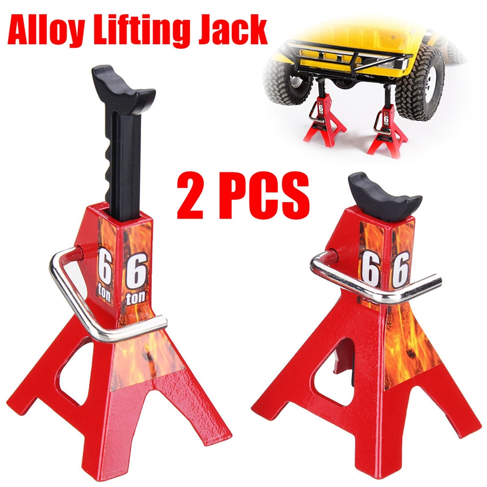 6 TON 2Pcs Alloy 1/10 Scale Jack Stands for Axial SCX10 TAMIYA CC01 RC Trucks Set Car Parts