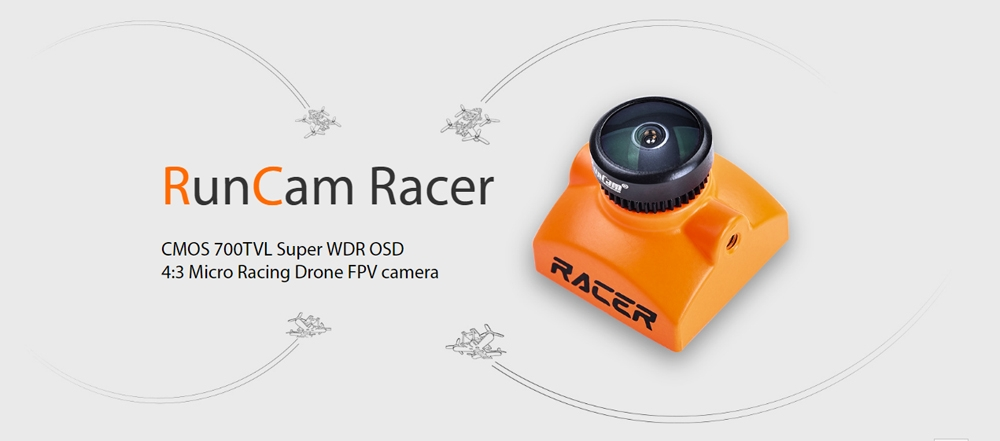 RunCam Racer Black CMOS 700TVL Super WDR OSD 4:3 Micro FPV Camera Key-press Board Control