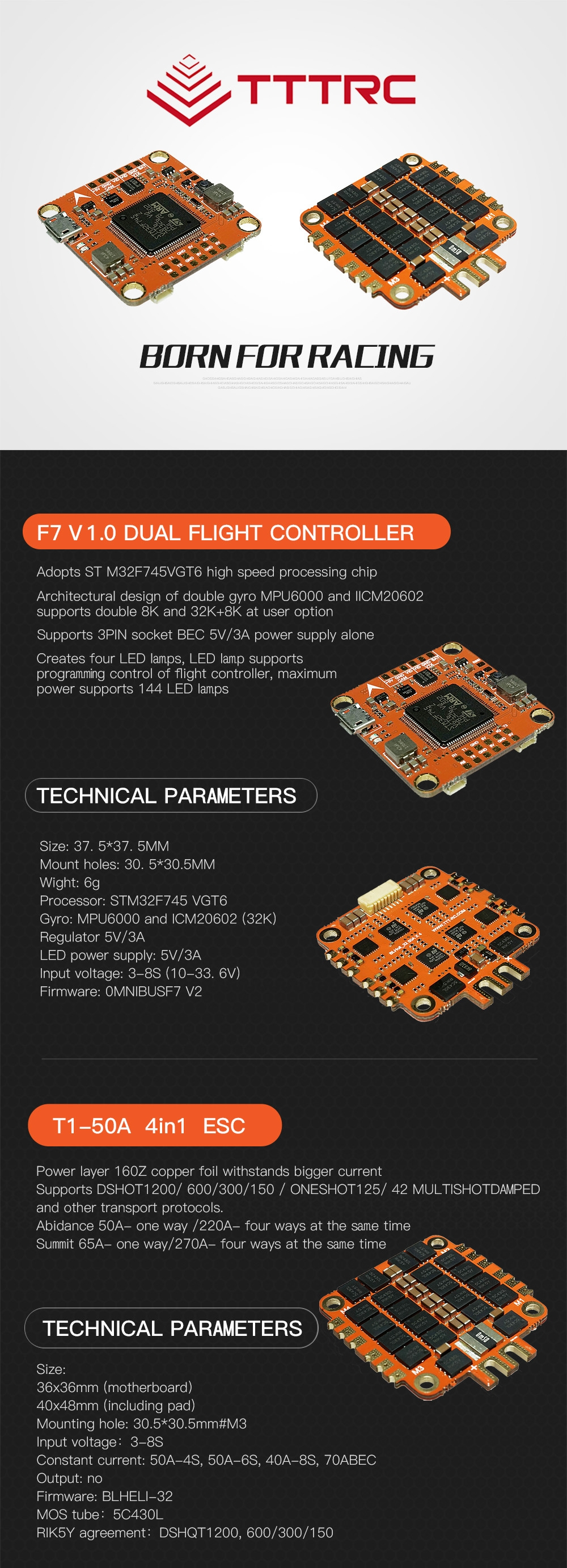 TTTRC F7 3-8S Dual Gyro Flight Controller W/ LED OSD+T1-50A 4in1 BLHeli_32 ESC for FPV RC Drone