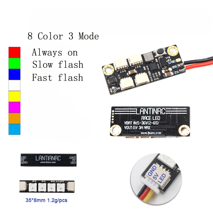 LANTIANRC LED Light Control Board 2-6S 5V/2.5A WS2812 4 Lamps In Parallel for RC Drone FPV Racing
