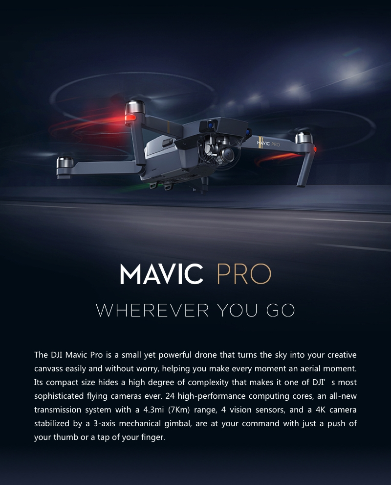 (Official Refurbished Unit) DJI Mavic Pro With 3Axis Gimbal 4K Camera Obstacle Avoidance RC Drone Quadcopter Fly More Combo