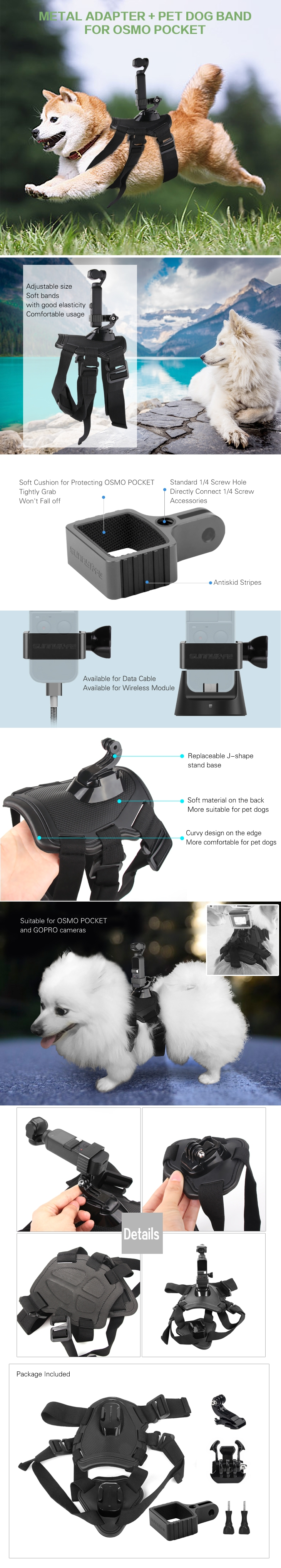 Sunnylife OSMO Pocket Gimbal Expansion Bracket with Pet Dog Harness Mount Fixed Adatper Holder Adjustable Elastic Strap Accessories for DJI GoPro Camera
