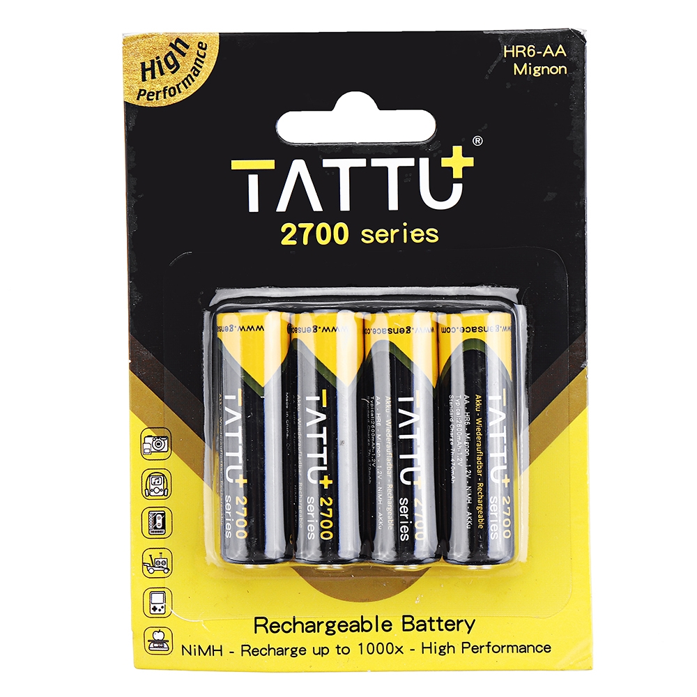 4Pcs ACE TATTU 1.2V 2700mAh NiMH AA Battery for RC Toys