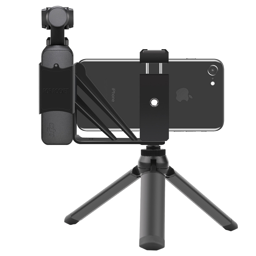 OSMO Pocket Accessories Smartphone Cold Shoe Mount with Tripod Expansion Bracket 1/4 Inch Adapter for DJI Gimbal LED Microphone
