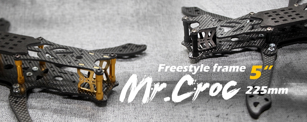 FLYWOO Mr.Croc 225mm 5 Inch FPV Freestyle Carbon Fiber Racing Frame Kit 5mm Arm