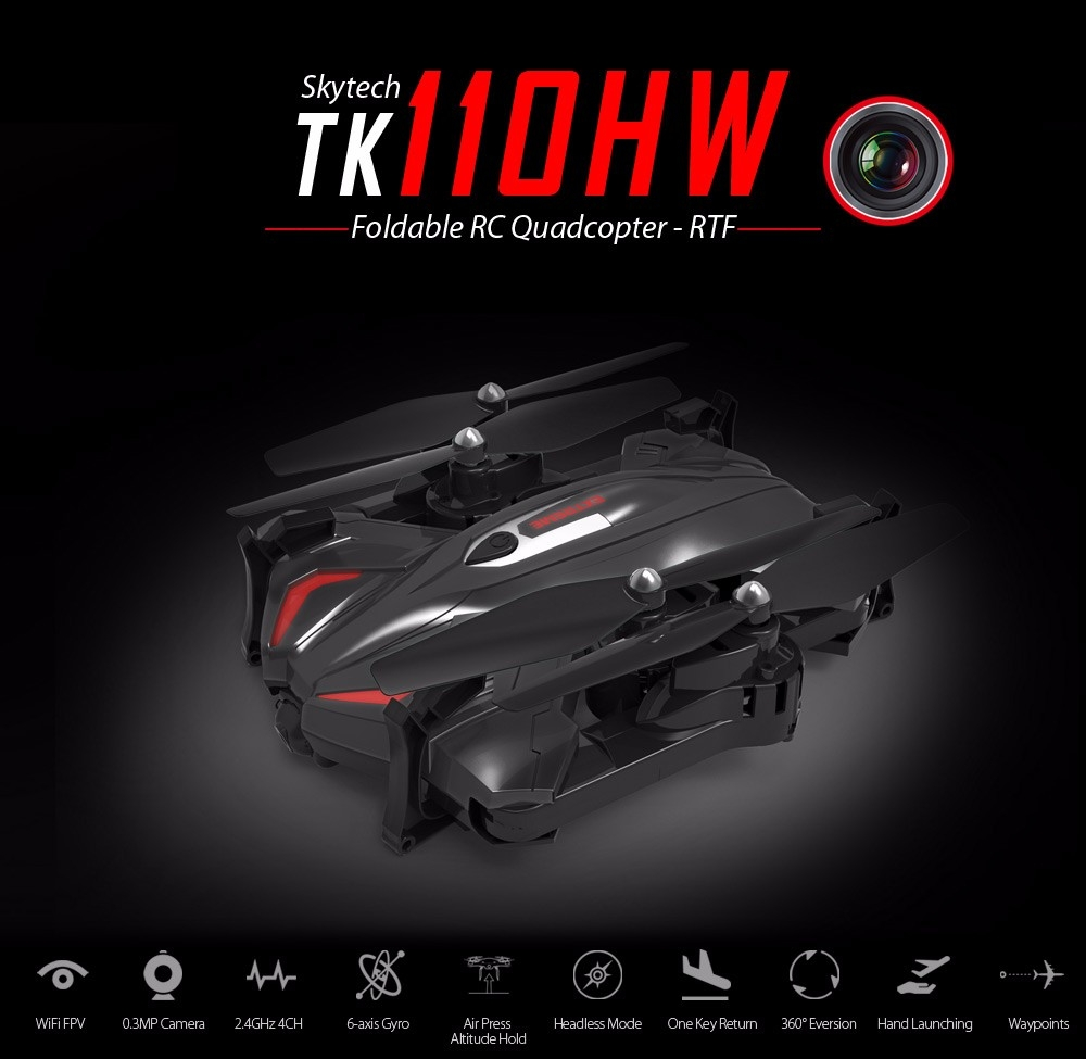 Skytech TK110HW WIFI FPV With 720P HD Camera Foldable 2.4GHz 6 Axis Gyro RC Quadcopter RTF