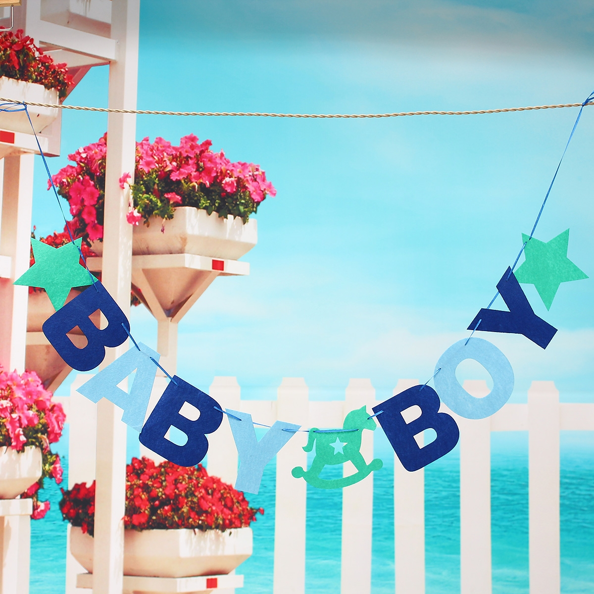 BABY BOY Baby Shower Bunting Garland Hanging Banner Flag Christening Party Decor
