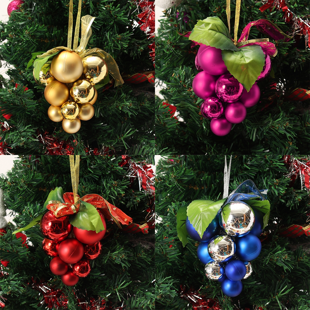 Christmas Ball Grape Strings Tree Decoration Ornaments Pendant Ball Hanging Adornments