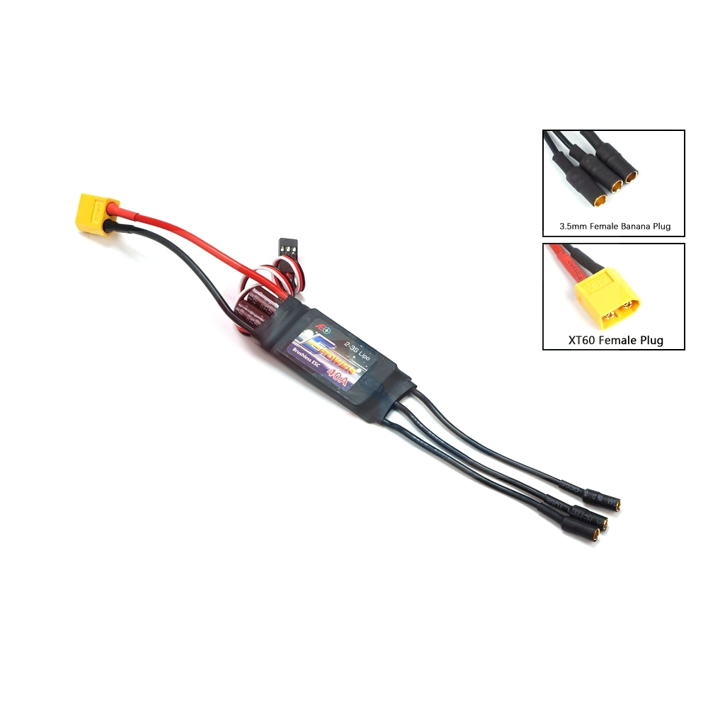 AEORC E-Power ESC Motor Speed Controller 40A Brushless ESC 4S 5S with UBEC 3.5mm Banana Plug XT60 Connector for RC Airplane FPV Racine Drone