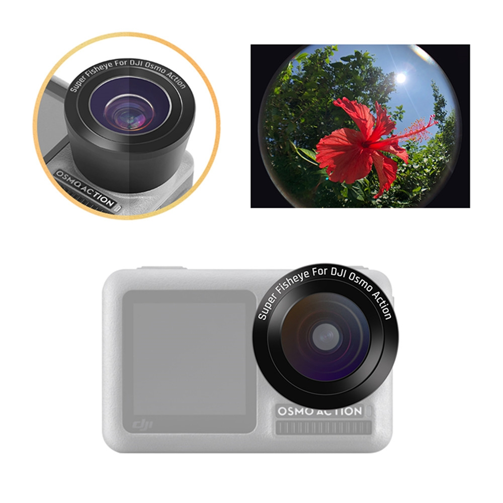 Optical Glass Coating 180 Degree Wide Angle Super Fisheye Lens for DJI OSMO Action Camera