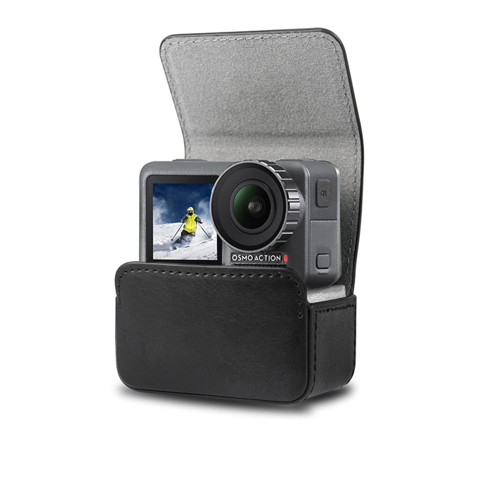 Portable Waterproof Leather Camera Bag Magnetic Adsorption Case Storage Bag Carrying Box For DJI OSMO Action/Sjcam/Xiaomi yi/Mi Jia