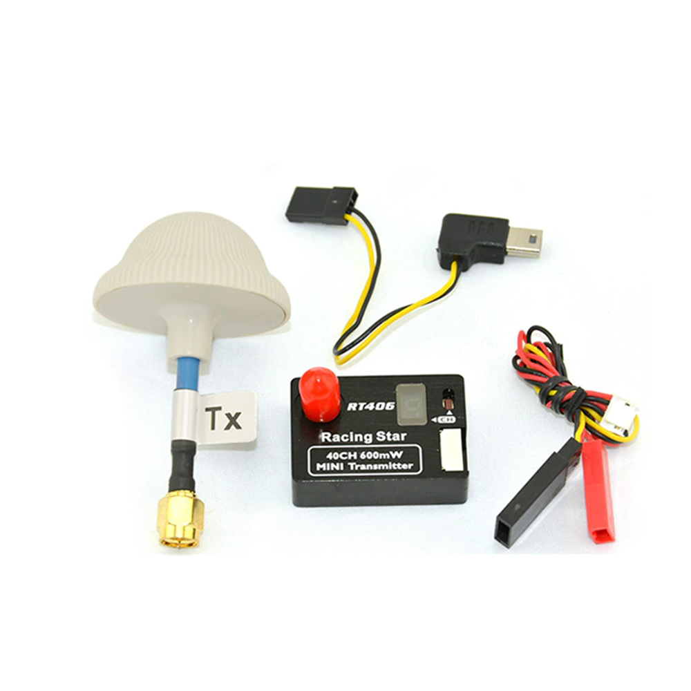 5.8Ghz 40CH 600mW A/V Mini FPV Transmitter TX RT406 with LCD Display Mushroom Antenna for FPV Multicopter RC Drone