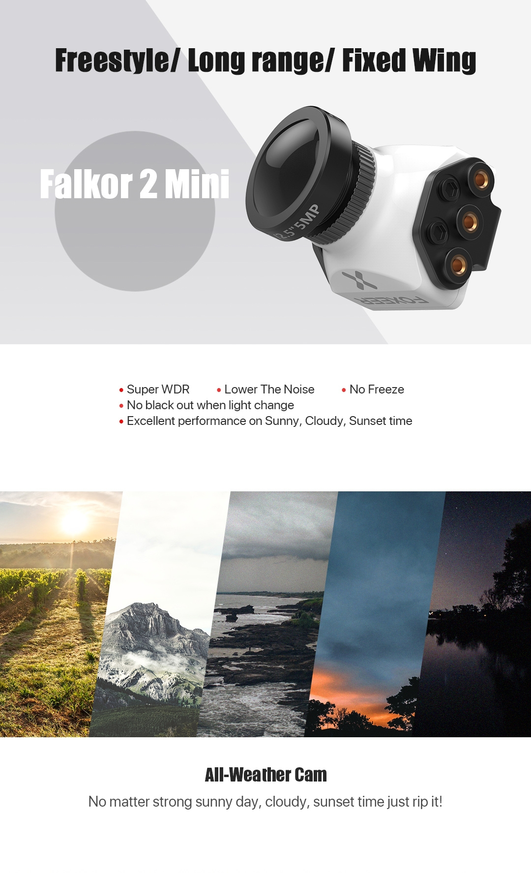 Foxeer Falkor 2 Mini Standard Cmos 1200TVL Global WDR FPV