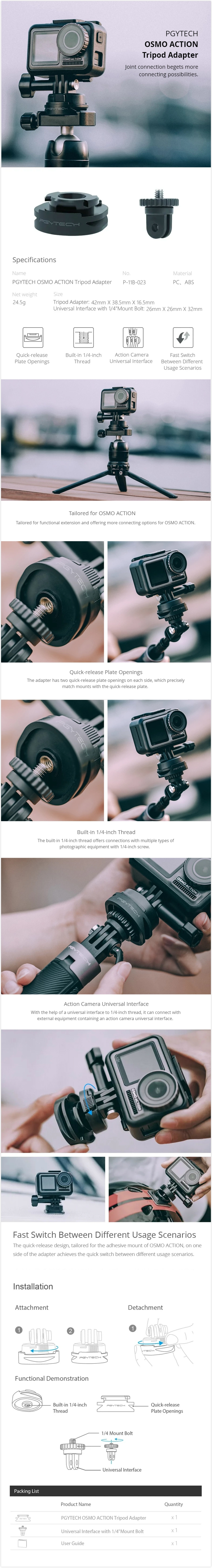 PGYTECH Camera Tripod Adapter With 1/4 Mount Bolt For DJI OSMO Action FPV Camera