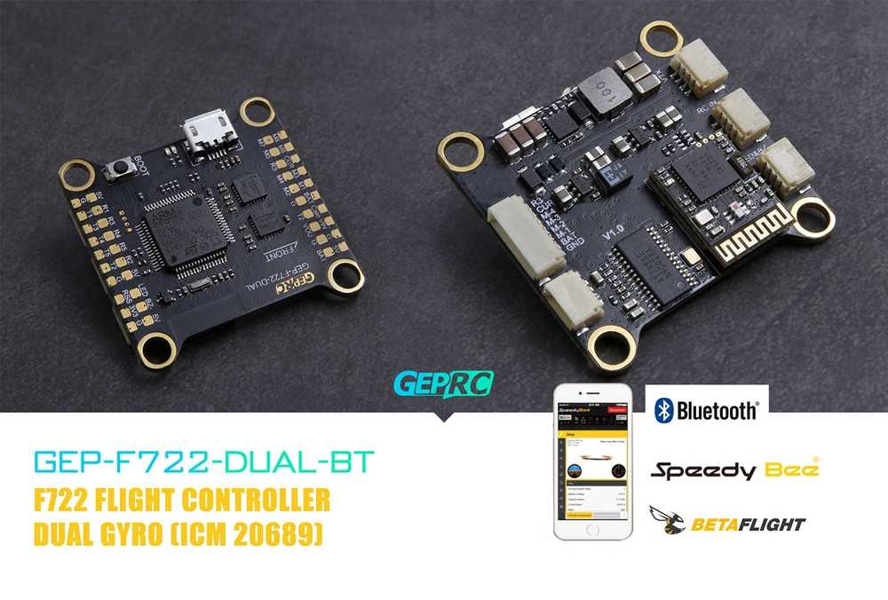 Geprc F722-DUAL-BT Dual Gyro F7 Bluetooth Flight Controller AIO OSD BEC Blackbox for RC Drone FPV Racing