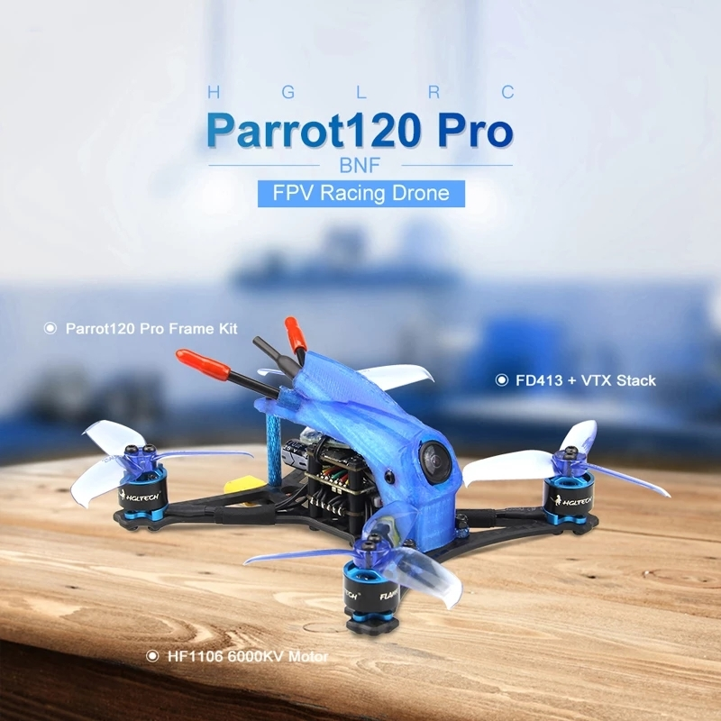 HGLRC Parrot120 Pro 120mm F4 Toothpick FPV Racing Drone PNP BNF w/ 1106 Motor Caddx.us Turbo Eos2