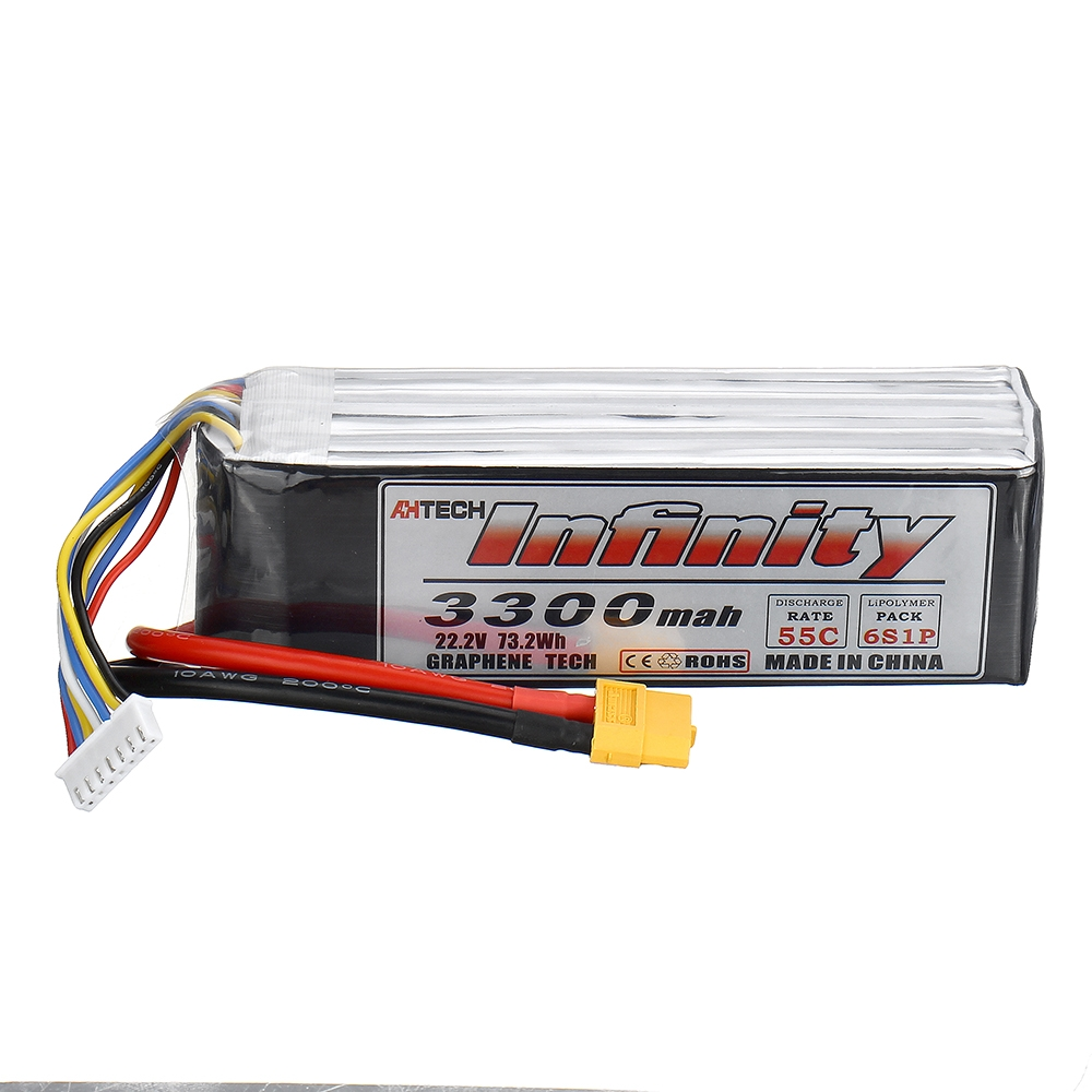 AHTECH Infinity 22.2V 3300mAh 55C 6S Lipo Battery with XT60 Plug for FPV RC Quadcopter