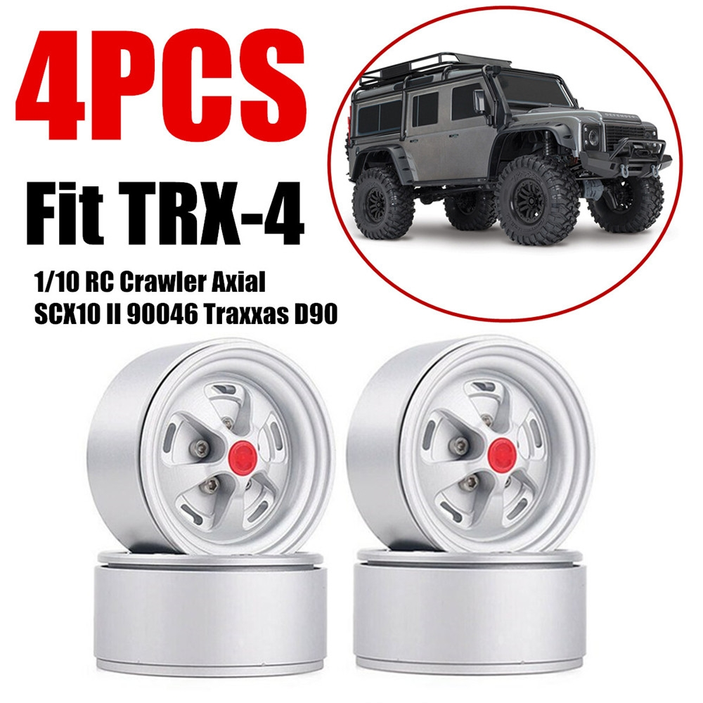 4PCS 1.9 Inch Beadlock Rim Metal Wheel for 1/10 RC Car Axial SCX10 90046 Tr1axxas T-RX-4 D90