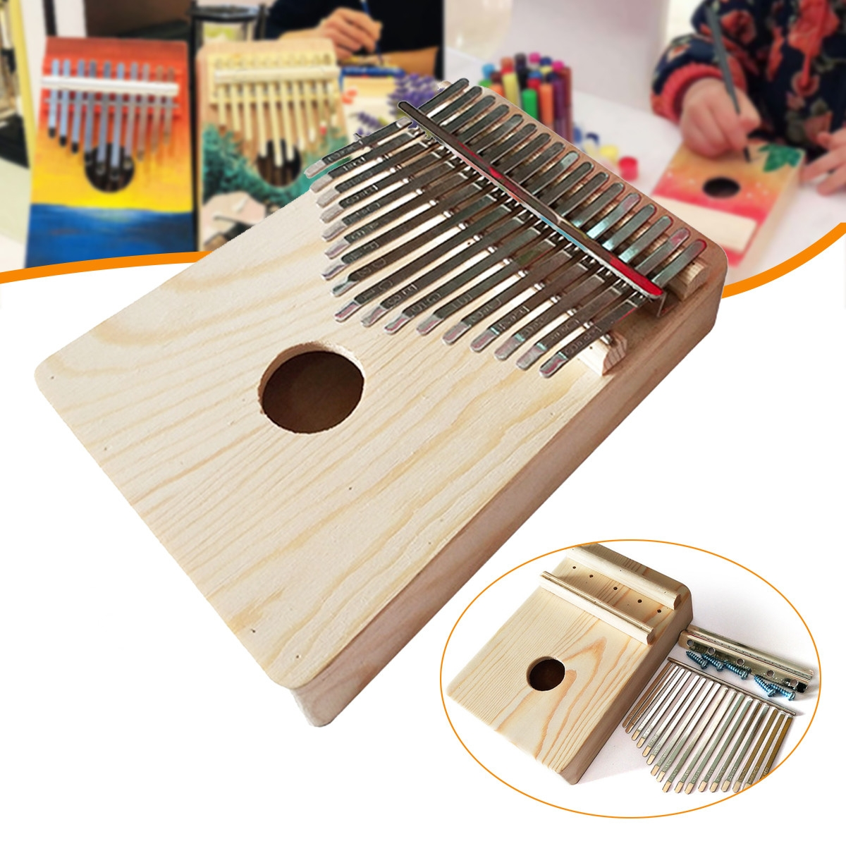 17 Key Mbira DIY Kit Finger Thumb Piano for Handwork Painting Musical Instrument