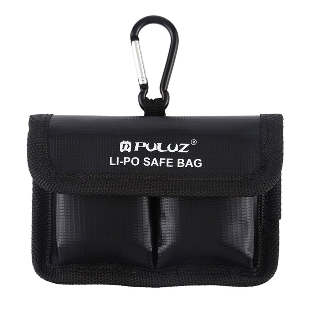 PULUZ Lithium Battery Explosion-proof Safety Protection Storage Bag with Carabiner for GoPro / DJI OSMO ACTION Camera Battery