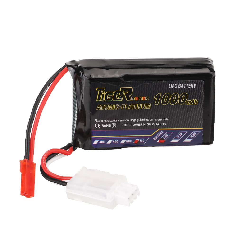 Tiger Power 7.4V 1000mAh 75C 2S Lipo Battery JST Plug for RC Drone