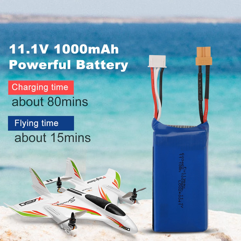 XK X450 VTOL RC Airplane Fixed Wing 3S 11.1V 1000mAh 20C Lipo Battery Lithium Battery