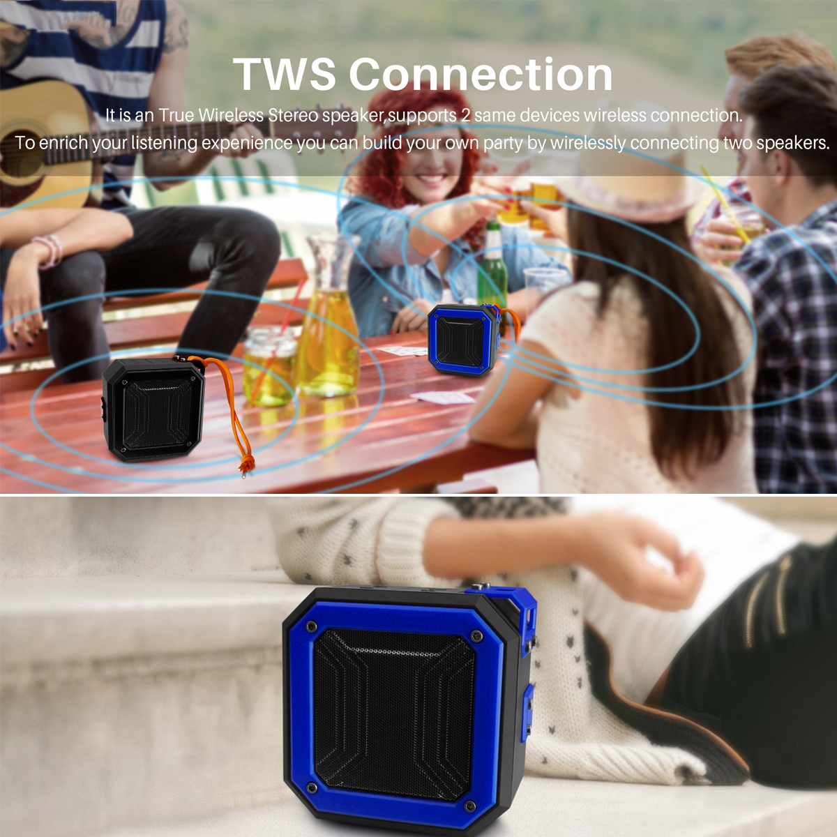 Wireless Bluetooth Speaker Bluetooth 5.0 1200mah Outdoor Speaker Hands Free Call FM Radio TWS Connection