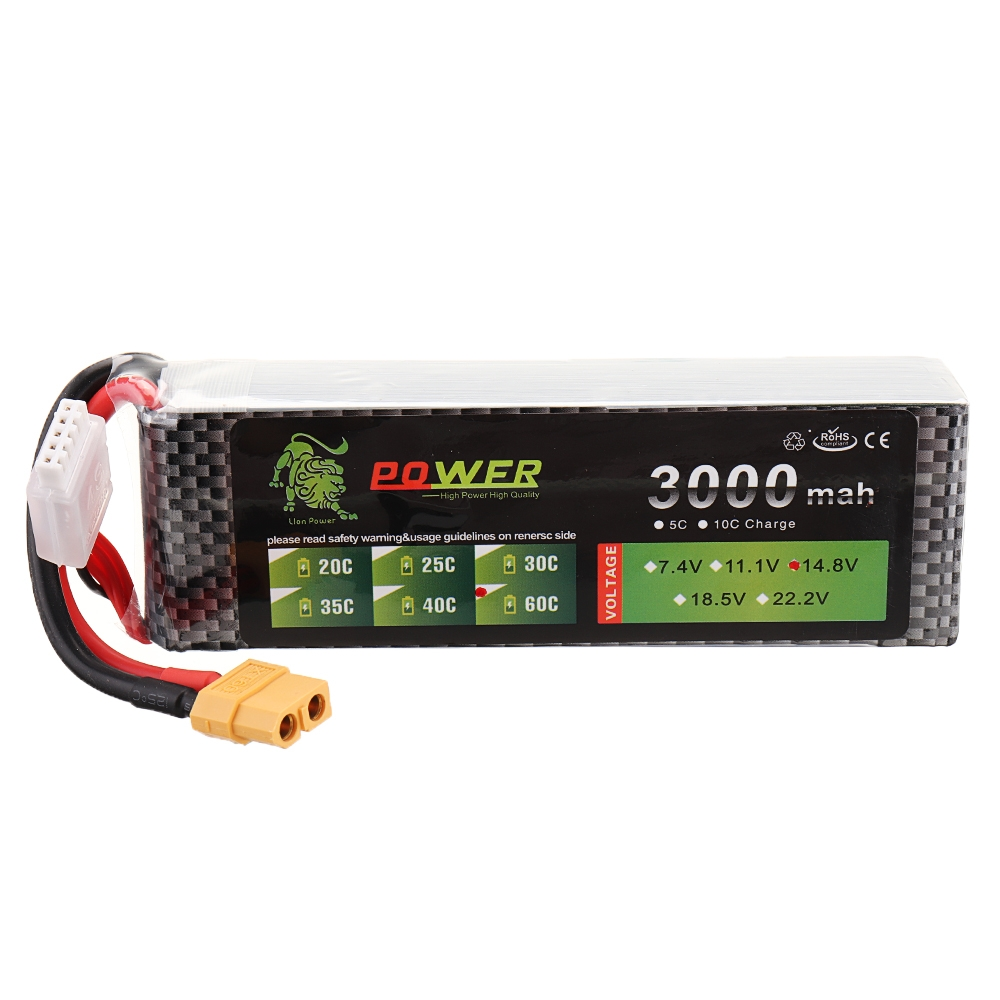 LION Power 14.8V 3000mAh 60C 4S Lipo Battery XT60 Plug for RC FPV Drone