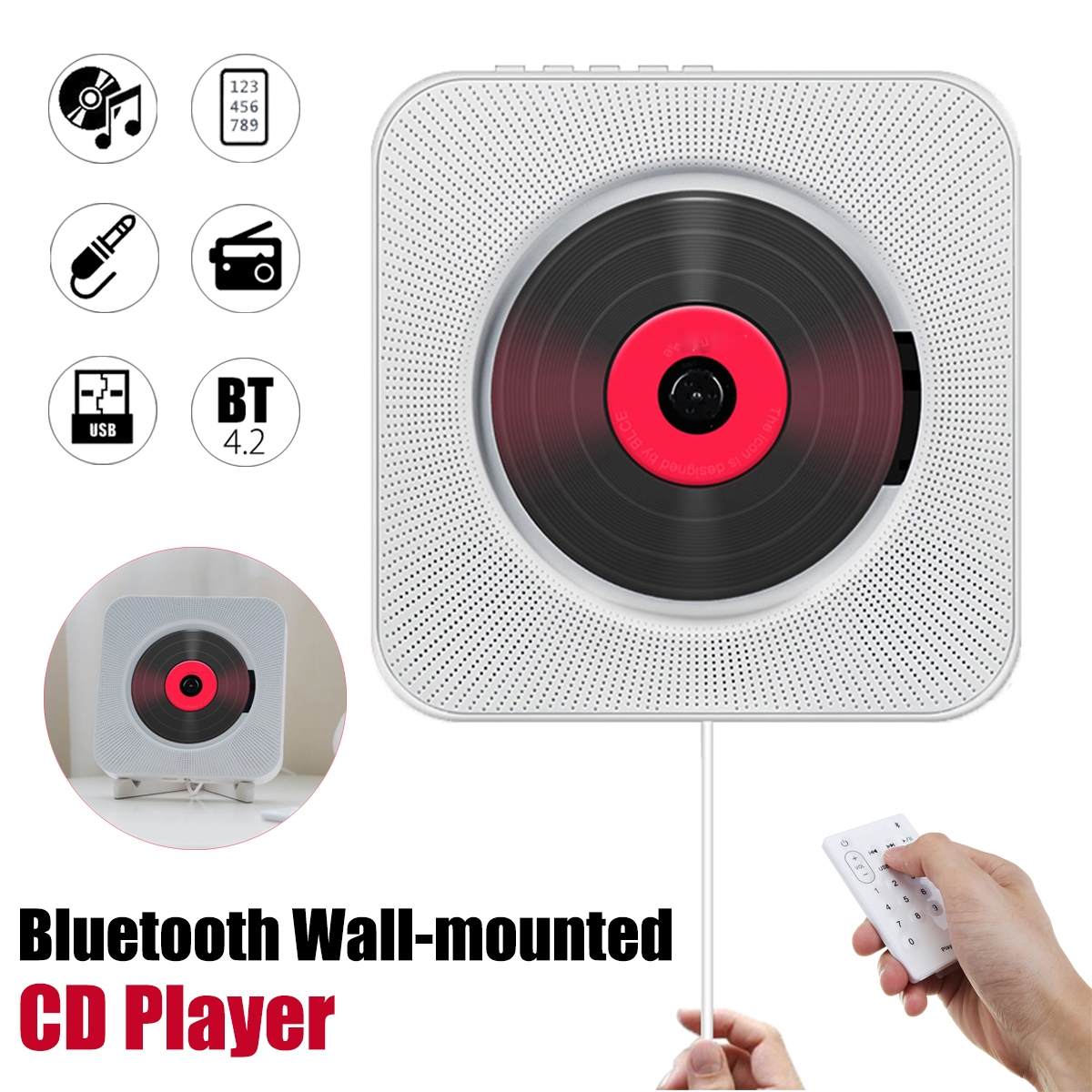 KC-808 Wall Mounted Bluetooth CD Player Portable Home Audio Box with Remote Control FM Radio Built-in HiFi Speakers MP3
