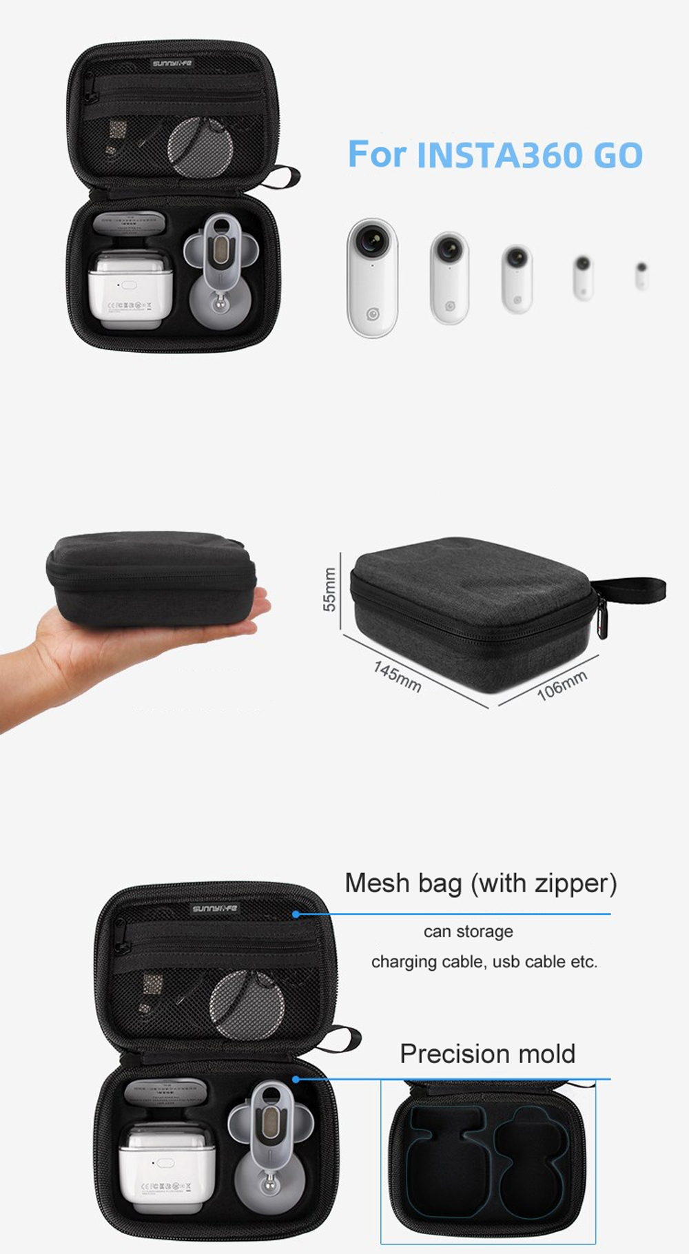 Sunnylife Camera Mini Portable Clutch Bag Storage Bag Carrying Case for for Insta360 Camera